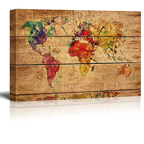 Wall26 - Canvas Prints Wall Art - Abstract Colorful World Map on Vintage Wood Background - 12
