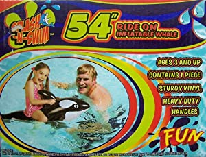 "Splash N' Swim 54"" Ride on Inflatable Whale"