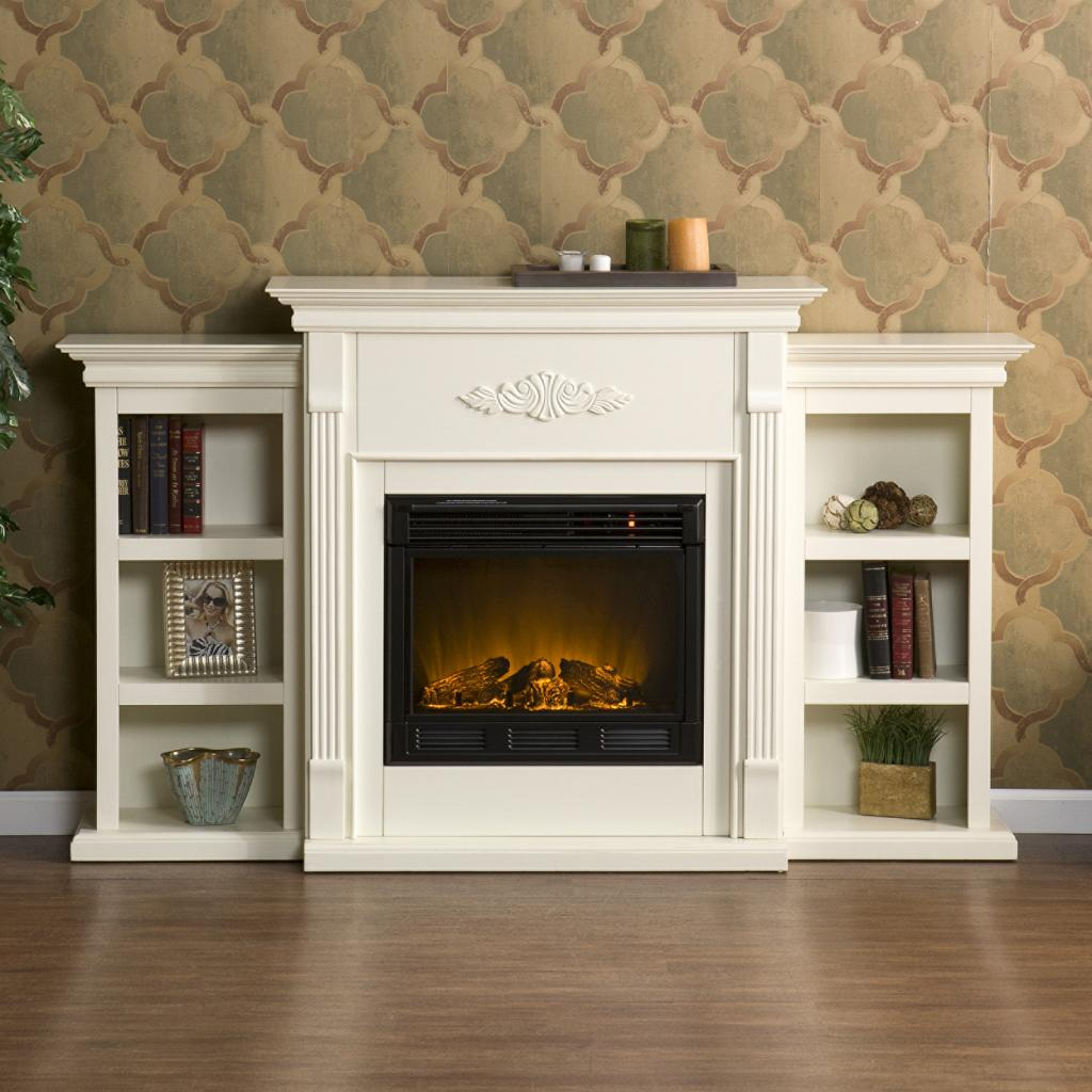 White Electric Fireplace with TV 1024 x 1024