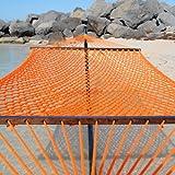 Caribbean Rope Hammock - 55 Inch - Soft-Spun Polyester (orange)