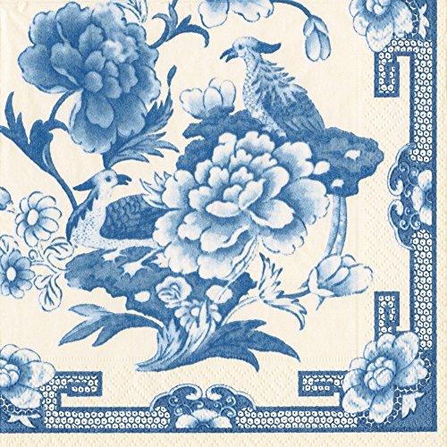 Caspari Servietten, blau/weiß