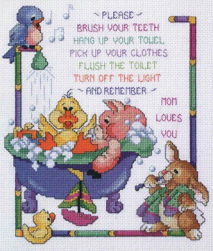 Janlynn Cross Stitch Kit, 12-Inch by 10-Inch, Bath Time Rules