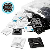 Cable Tie Mount 1.1 Inch 28mm Black and White Large Squares Adhesive Mount, 100 Pieces.perfect for Wire Wire Ties Cable Management Zip Tie Anchors ,Durability Pro-grade UV Wire Holder (Color: Mix, Tamaño: 100pcs 1.1in)