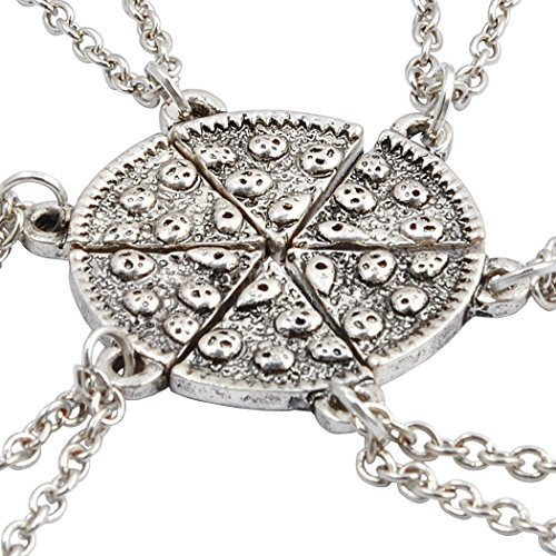 Jane Stone Vintage Personalized Silver Tone 6 Pieces Pizza Necklace for Friend and Lover