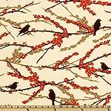 Aviary 2 Sparrows Bark Cream Fabric