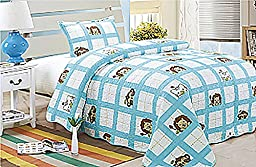 Homemusthaves Twin MultiColor Blue White Lion Theme 2PCS Quilt Bedspread Set Kids Boys Girls Bed Coverlet and Sham