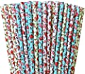 Ivory, Light Blue and Pink Roses Paper Straw Combo-Valentine Party Supply Wedding Bridal Shower Floral Garden 100% Biodegradable-7.75 Inches-Pack of 75