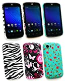 Emartbuy® ZTE Grand X Bundle Pack of 3 Clip On Protection Case/Cover/Skin - Rose Garden, Zebra Black / White & Pink Garden