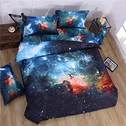 Cliab Galaxy Bedding for Kids Boys Girls Full Size Outer Space Duvet Cover Set 7 Pieces(Fitted Sheet Included)