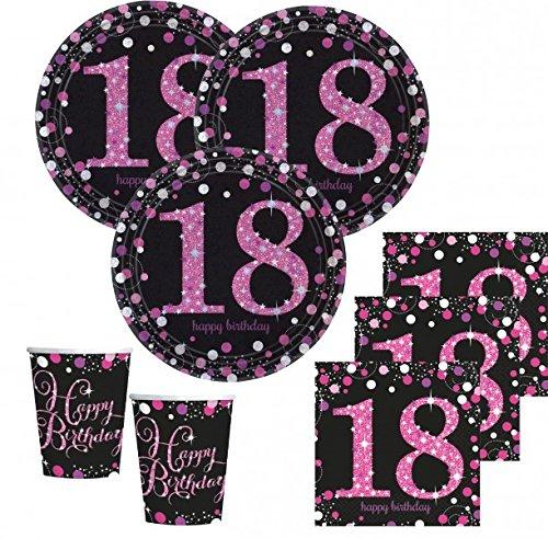 48 teile zum 18 geburtstag pink glitzer f r 16 personen. Black Bedroom Furniture Sets. Home Design Ideas
