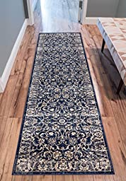 Essex Blue & Beige Vintage Traditional Persian Oriental Sarouk Area Rug 3 x 10 ( 2\'7\