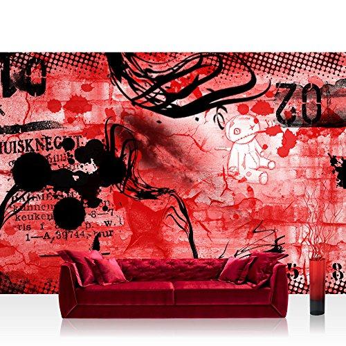 Fototapeten Jugendzimmer M?dchen : Teen Jugendzimmer Graffitti Rot – RED GRAFFITI WALL – No. 036