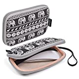 Case Star ® Bohemian Style Canvas Fabric Smart Elephant Pattern Travel Carrying Case Bag for Mac Magic Mouse, Anker 36W 4-Port USB Wall Charger Travel Adapter, Apple 45W MagSafe Power Adapter (Elephant - Black)