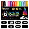 Cedar Markers Liquid Chalk Markers - 12 Pack With Free 40 Chalkboard Labels - Amazing Neon Color Pens Including Gold And Silver Ink. Reversible Bullet And Chisel Tip And A Brand New Revolutionary Cap.