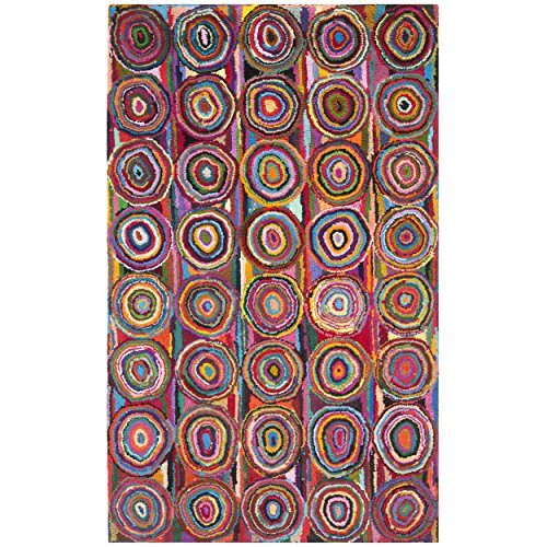 Safavieh Nantucket Collection NAN143A Handmade Pink and Multicolored Cotton Area Rug, 5 feet by 8 feet (5' x 8')