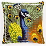 Vervaco Peacock Cross Stitch Cushion Multi Colour