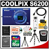 Nikon Coolpix S6200 Digital Camera (Blue) with 16GB Card + Battery + Case + HDMI Cable + Flex Tripod + Accessory Kit