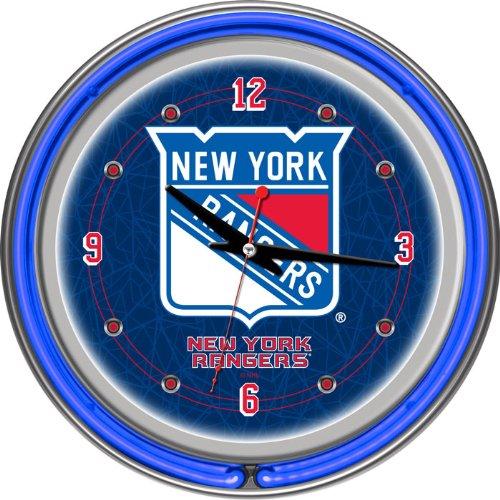 NHL New York Rangers Neon Clock - 14 inch Diameter