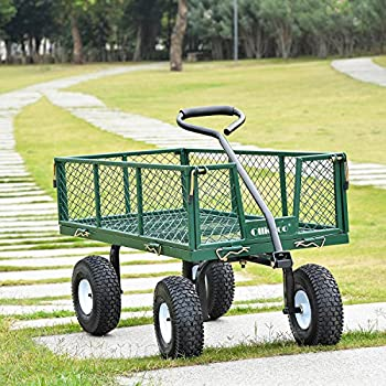 """Ollieroo Utility Wagon Farm and Ranch Heavy-Duty Steel Garden Cart with Removable Folding Sides and 10"""" Pneumatic Tires 660Lb Capacity 38""""x20"""" Bed Powder Coated Green Finish"""