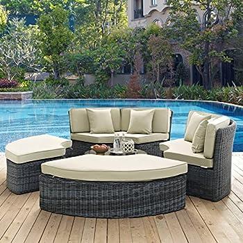 Modern Contemporary Urban Design Outdoor Patio Balcony Round Daybed Sofa, Beige, Rattan
