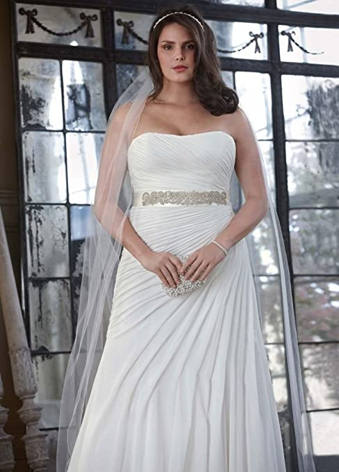 SAMPLE: Crinkle Chiffon Wedding Dress with Asymmetrical Draping Style...