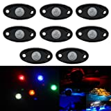TFCFL RGB LED Rock Lights With Bluetooh Remote Control LED Neon Light Kit for Car Offroad Boat Trail Rig Lamp Waterproof (Pack of 8)