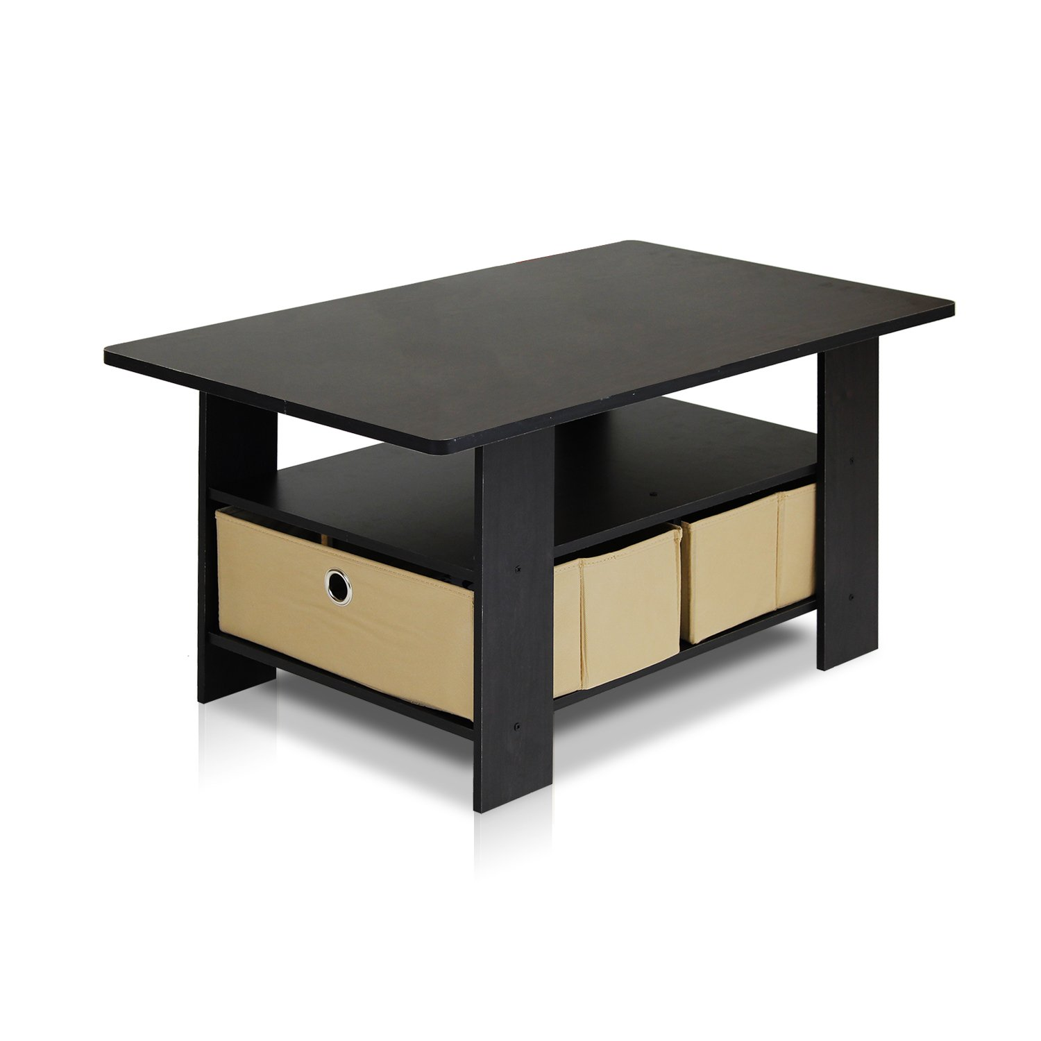Espresso Coffee Table With Storage: Small Coffee Table Living Room Furniture Dorm Desk Home
