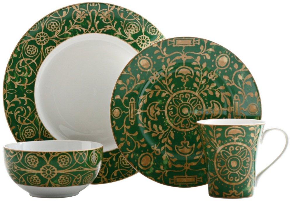 222 Fifth Pilar 16-Piece Dinnerware Set, Green
