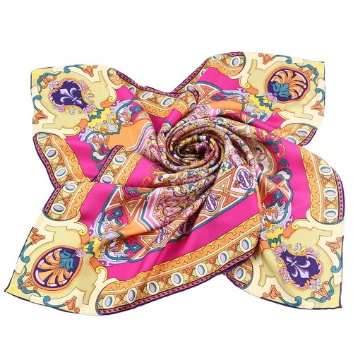Grace Scarves 100% Silk Scarf, Large, Divine Mandala Sunburst, Twill, Pink & Yellow Womens Kerchief