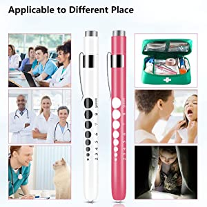 Opoway Pen Light with Pupil Gauge LED Penlight Medical for Doctor Nurse Diagnostic Batteries Free 2ct. Pink and White (Color: Pink and White)