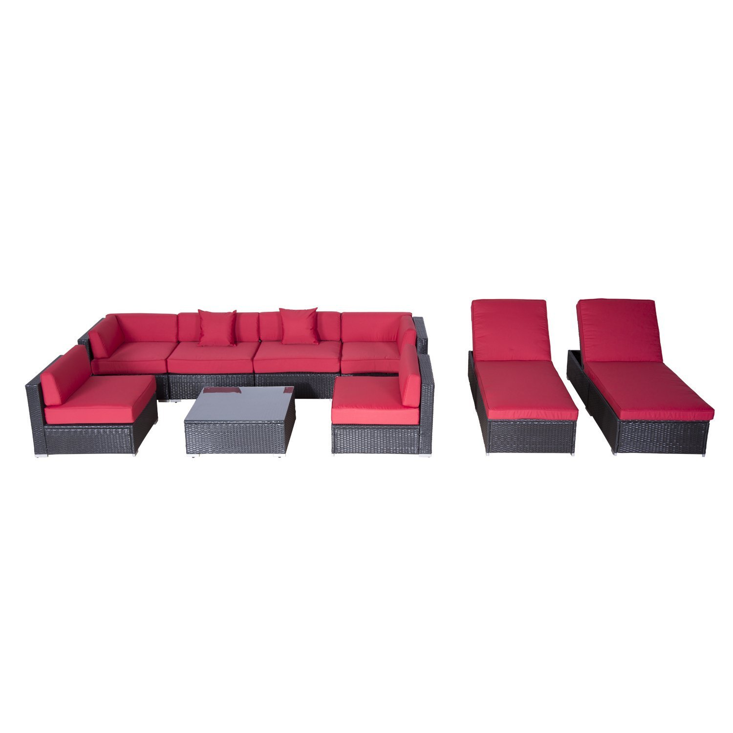 Wicker patio furniture set outdoor sofa sectional chaise for Chaise lounge couch set