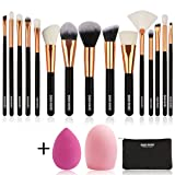 BABI BEAR 15 PCs Makeup Brushes Set Premium Synthetic Kabuki Foundation Brush Professional Wooden Handle Makeup Brush with Makeup Sponge Brush Cleaner and Travel Makeup Bag (15+3pcs,Rose Gold) (Color: Black)