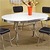 Coaster 50's Retro Nostalgic Style Oval Dining Table, Chrome Plated