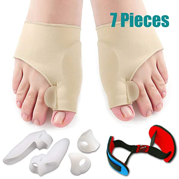 Bunion Corrector & Bunion Relief Protector Sleeves Kit - Treat Pain in Hallux Valgus, Big Toe Joint, Hammer Toe, Toe Separators Spacers Straighteners Splint Aid Surgery treatment-7Pcs (Color: 7pcs Milky White)