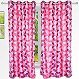 Story@Home 5 feet Set of 2 happiness 2 Piece Natural Pattern Polyster Curtains Purple