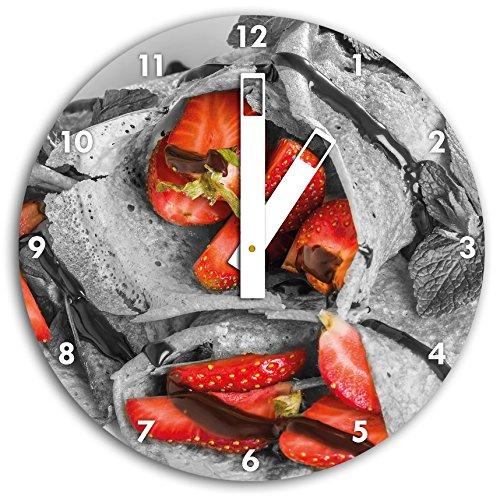 délicieuses crêpes aux fraises et glaçage au chocolat noir / blanc, diamètre 30cm horloge murale avec du blanc au carré les mains et le visage, objets décoratifs, Designuhr, aluminium composite très agréable pour salon, bureau