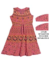 Sanganeri Print on Red Dress with a Pair of Additional Unstitched Sleeves - Cotton