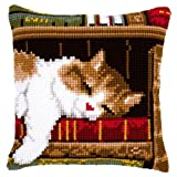 Vervaco Cat Sleeping Cross Stitch Cushion Multi Colour