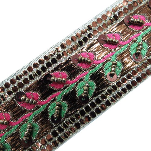 1 Yd Copper Hand Beaded Sequin Green Pink Ribbon Trim