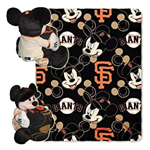 MLB San Francisco Giants Mickey Mouse Pillow with Fleece Throw Blanket Set by Northwest