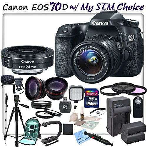 Canon Eos 70D Digital Slr Camera With Canon Ef-S 18-55Mm F/3.5-5.6 Is Stm Lens & Canon Ef-S 24Mm F/2.8 Stm Lens & Cs Stm Lens Kit. Includes: High Speed 64Gb Sdxc Memory Card, Sd Card Reader, Memory Card Wallet, Stabilizing Handle/Grip, Led Video Light, Le
