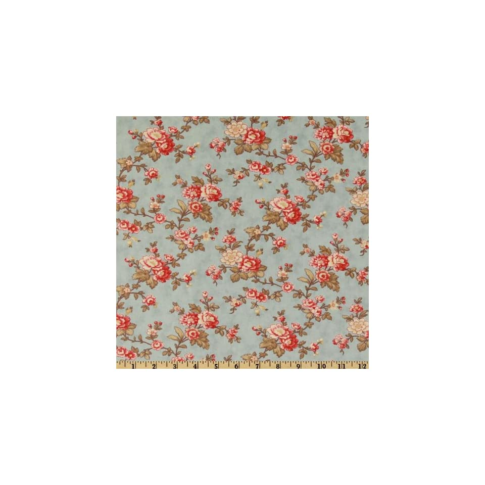 44 Wide Moda Park Avenue Blooming Flowers Lexington Blue Fabric By The Yard