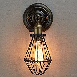 CLAXY® Ecopower Vintage Style Opening and Closing Wall Sconce Cage Lamp Guard Fixture