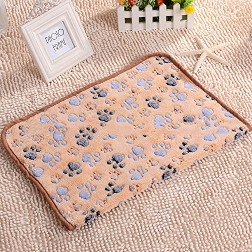 DocBear Pet Blanket,Dog Cat Mats,Kitten Soft Blanket Doggy Warm Bed Mat,Paw Print Cushion(Camel,20×30 Inch)