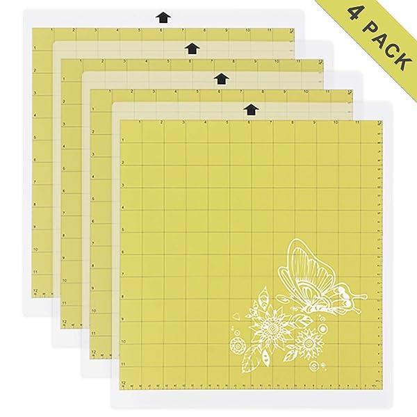 Light Grip Cutting Mat for Silhouette Cameo 4 Packs 12 x 12 - Adhesive Cutting Mat Replacement Set Matts Vinyl Craft (Color: Light Grip)