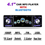 LSLYA (TM)4.1inch HD Single DIN Bluetooth Car Stereo Audio Radio FM Receiver 1080P Video Player MP3/USB /SD/TF/AUX/FM