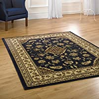 Sincerity Sherbourne Red Beige Green Navy Blue Rugs Traditional Large Thick Affordable Bedroom Lounge Rugs (Navy Blue, 200 x 290cm) from Flair Rugs