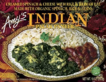 Amy's Indian Palak Paneer is smooth, creamy palak paneer, made from organic spinach and soft Indian cheese, is lightly spiced with authentic Indian herbs and spices. Rajmah dal, made from organic red kidney beans in a ginger-garlic sauce and tender o...