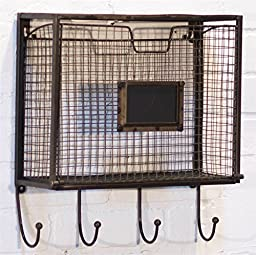 Wall File Basket with Hooks