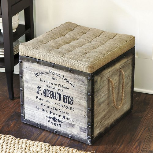 Burlap Seat Storage Ottoman - Ballard Designs